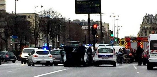 French police have converged on the kosher supermarket near Paris where a gunman is holding several people hostage. Photo: JSSNews