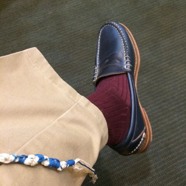 "In shul this morning, a guy sitting next to me said: ""Hey, your techeles matches your shoes!"""