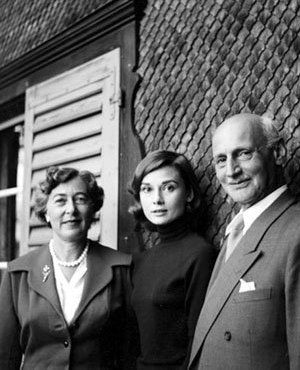 Anne Frank's father, Otto, and his second wife, Fritzi, visited Audrey in Burgenstock, Switzerland. Photo by Mel Ferrer.