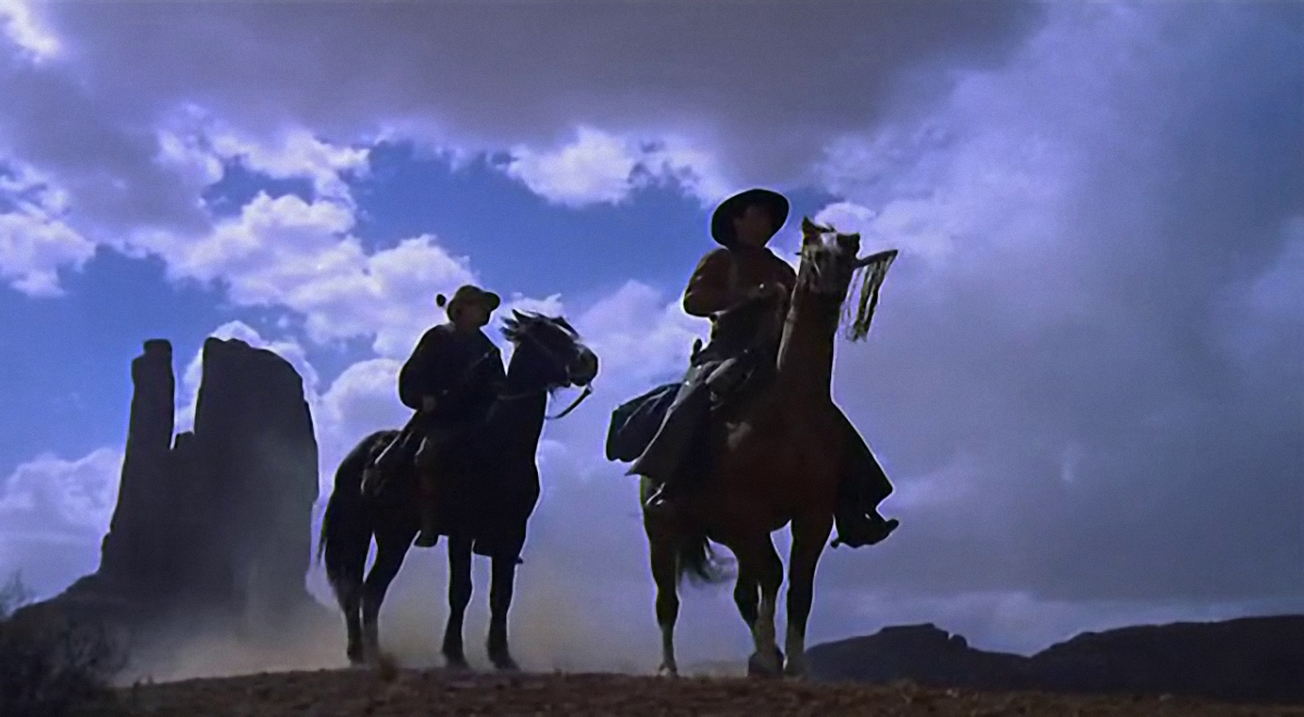 "John Wayne and Jeffrey Hunter on their high horses, ""The Searchers"", 1956."