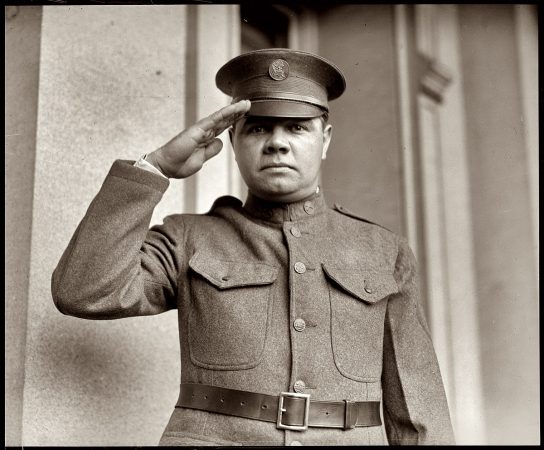 Yankees slugger Babe Ruth on May 28, 1924, shortly after signing up for a three-year stint in the New York National Guard.