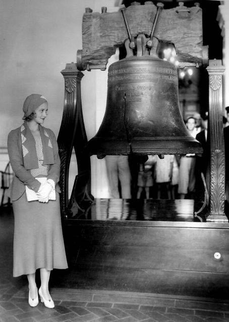 "Hollywood star Marian Marsh visits the Liberty Bell, 1930s. The inscription on the bell is from the Torah, Leviticus 25:10 and it reads, ""Proclaim liberty throughout all the land unto all inhabitants thereof."""