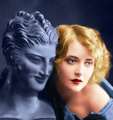 "Studio photographers frequently used sculptures as props when shooting Hollywood stars. Here is the tragic, almost forgotten Mary Nolan (1902 - 1948) a gorgeous Ziegfeld girl who shined brightly in several silent films, notably ""West of Zanzibar"" and ""Desert Nights"", before crashing and burning through a deadly combination of abusive men and an addiction to narcotics."