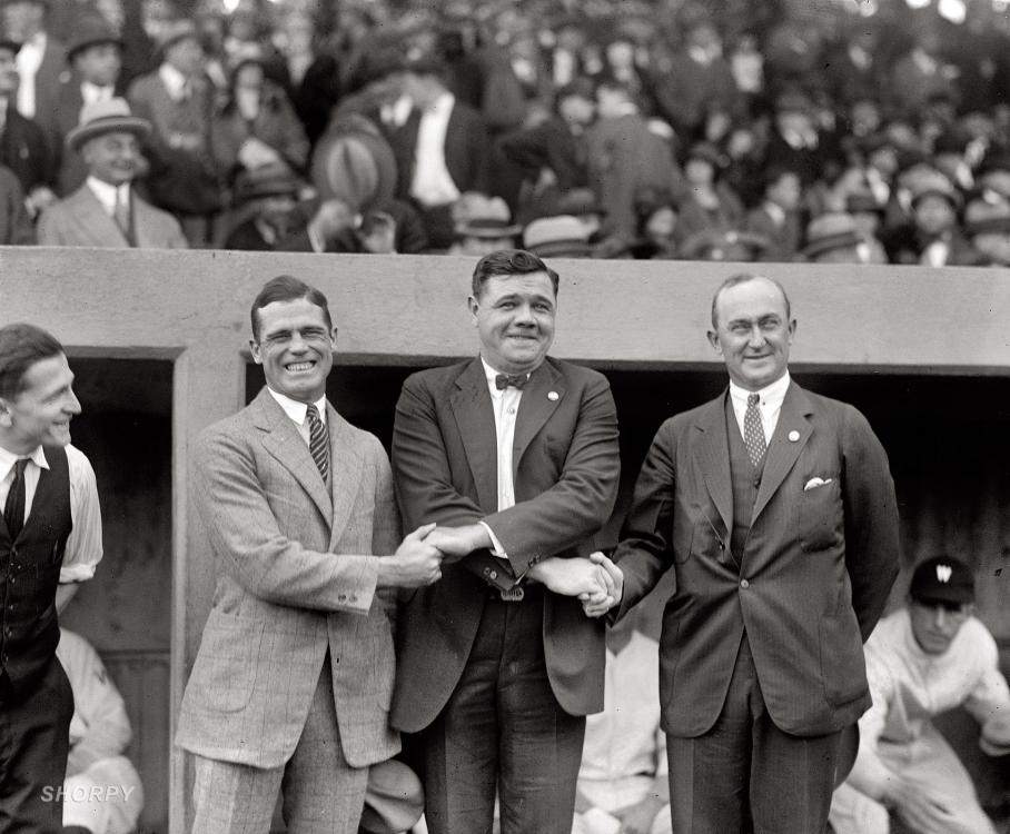 October 4, 1924. George Sisler, Babe Ruth and Ty Cobb at the first game of the 1924 World Series at Griffith Stadium.