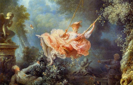 """The Swing"" by Jean-Honoré Fragonard, 1767. We see a young man hidden in the bushes, watching a woman on a swing, being pushed by an elderly man, who is unaware of the lover. As the lady goes high on the swing, she lets the young man take a furtive peep under her dress, all while flicking her own shoe off in the direction of a Cupid and turning her back to two angelic cherubim on the side of the older man."