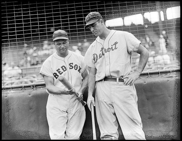 Two baseball legends: Jimmy Foxx, Boston Red Sox, and Hank Greenberg Detroit Tigers.