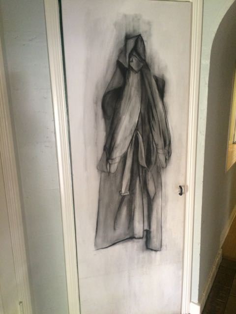 I commissioned artist Judith Margolis to do this charcoal sketch of a Burberry raincoat on a closet door in Casa Avrech.  Everyone who enters our home smiles when they look at it.