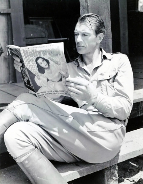 Gary Cooper relaxes while on location.