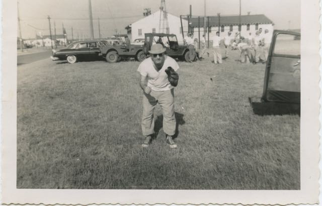 My father, Rabbi Chaplain Abraham Avrech z'l, taking time out from his duties as a Chaplain in the 42nd Division to play ball. This pic was taken sometime in the 1950s.