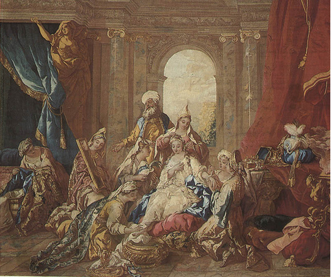 La Toilette d'Esther. Neilson, Jacques de Troy, Jean Francois Gobelins. Tapestry from the 2nd half of the 18th century. Gobelins, France. Yeshiva University Museum.