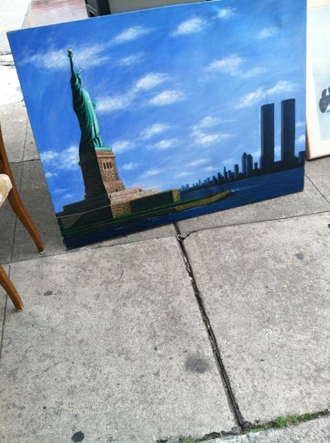 Strolling along Pico Boulevard, I saw a bunch of paintings being sold. I stopped for a moment and looked at this view of NY with the twin towers still standing. I experienced great sadness.
