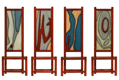 Painted chairs by Toby Kahn, 2009.