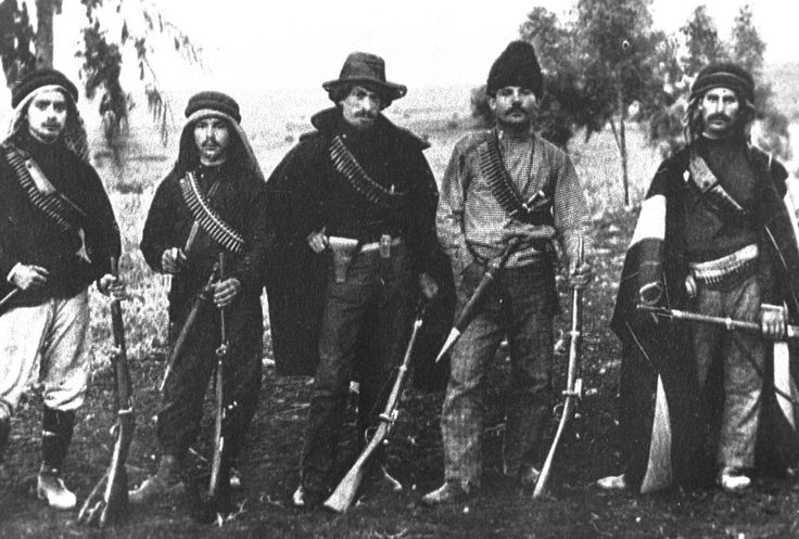 Some members of Hashomer, Jews of the Upper Galilee who fought Arab Muslim marauders in the Upper Galilee, 1907.