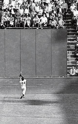 "My father's favorite baseball player was Willie Mays. here's the Say-hey Kid making ""The Catch"" in the 1954 World Series at the old Polo Grounds."