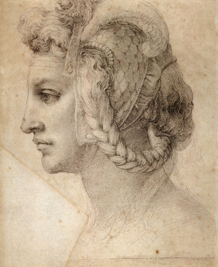 Michelangelo, Testa Divina, c.1520. Her hair seems to be alive.