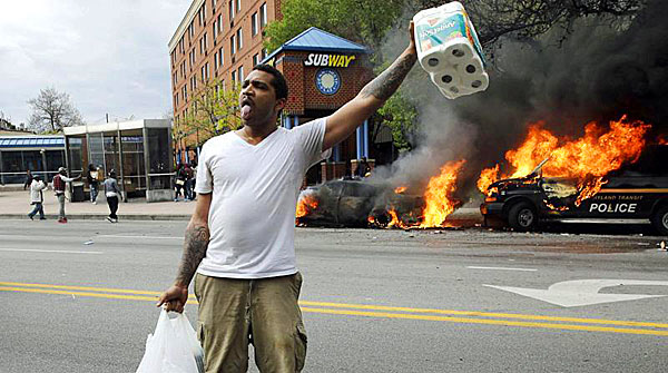 The Mayor of Baltimore created space for this looter to steal toilet paper.