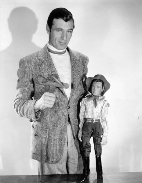 Gary Cooper with a Gary Cooper puppet, 1930s.