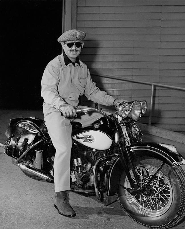 Clark Gable was a motorcycle enthusiast. here he is on a Harley Springer.
