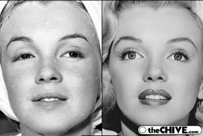 MM before her makeup is applied and after. I wonder if she used Lux?