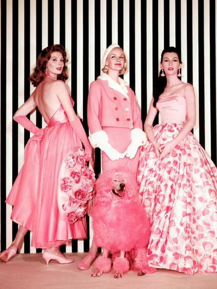 """Edith Head, gowns worn by models Suzy Parker, Sunny Harnett and Dovima for the Think Pink fashion sequence in """"Funny Face"""", 1957."""