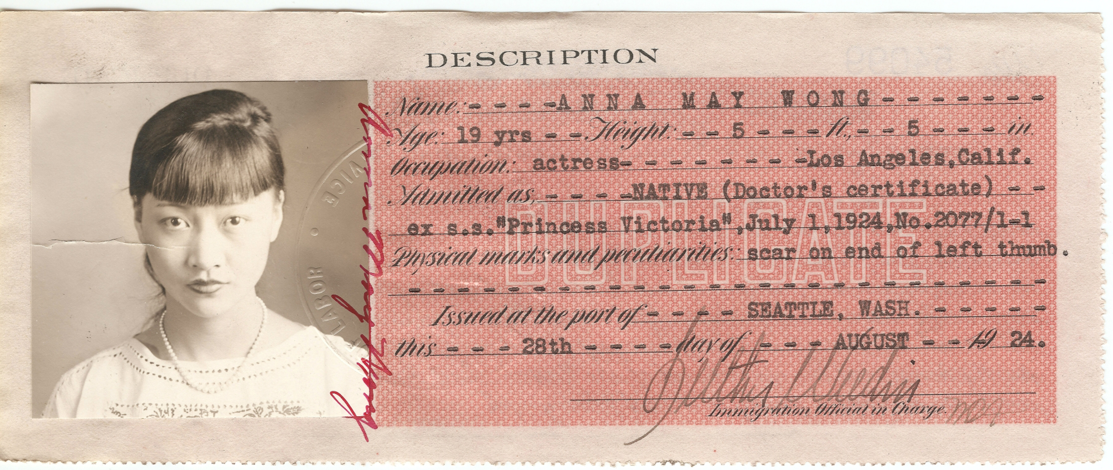 government-issued identification card for Anna May Wong, the silent film actress. Starting in 1909, Chinese entering or residing in the U.S. were required to carry such ID at all times.