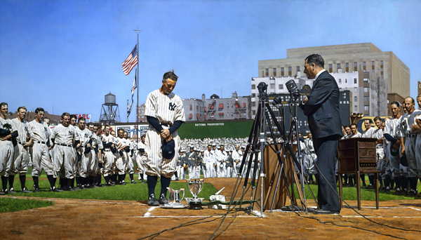Craig Kreindler, The Luckiest Guy, Lou Gehrig, July 4, 1939 Farewell, oil on canvas.