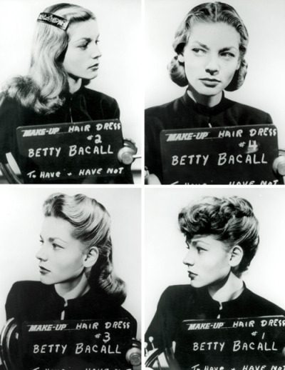 "Lauren Bacall hair style tests for ""To Have and Have Not."""