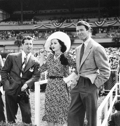 Don Ameche, Hedy Lamarr and Jimmy Stewart looking elegant and fashionable at the races.