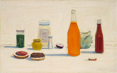 Wayne Thiebaud, Hamburger Counter, 1961. Oil on canvas, 50.8 x 81.2 cm.