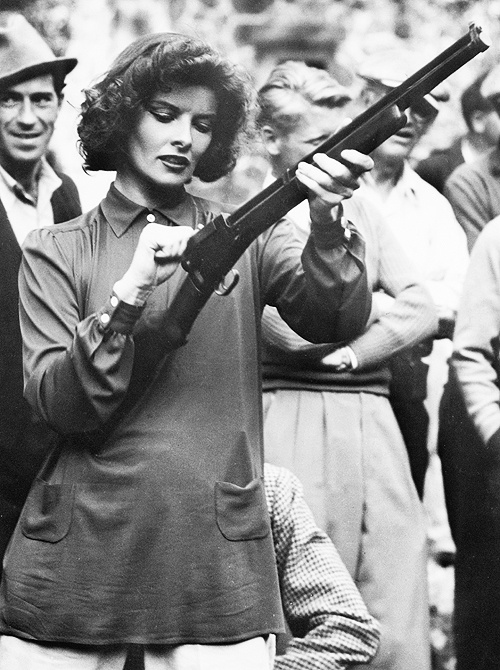 There was a time in America where ladies and guns were not demonized. by Hollywood. Katharine Hepburn, 1935.