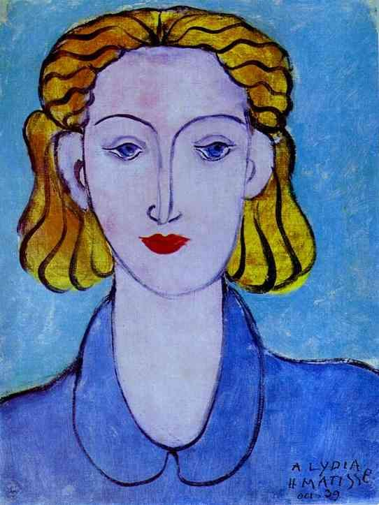 """Young Woman in a Blue Blouse (Portrait of Lydia Delectorskaya, the Artist's Secretary), 1939, Henri Matisse (1869-1954)."