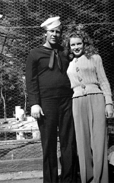 Norma Jean (Marilyn Monroe) and her first husband Jim Dougherty.