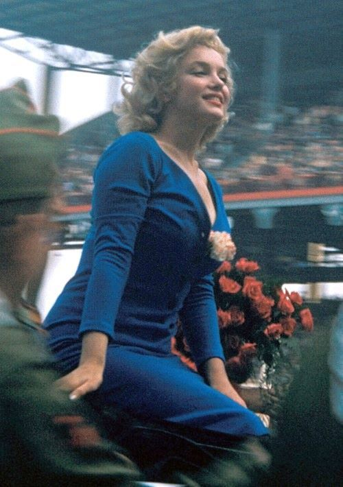 Marilyn Monroe at Ebbets Field, New York on May 12, 1957, where she made the ceremonial first kick in a soccer match between the USA and Israel.