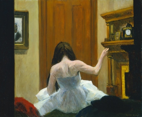 Edward Hopper, New York Interior, 1921. I think she looks like a ballet dancer repairing her costume with needle and thread.