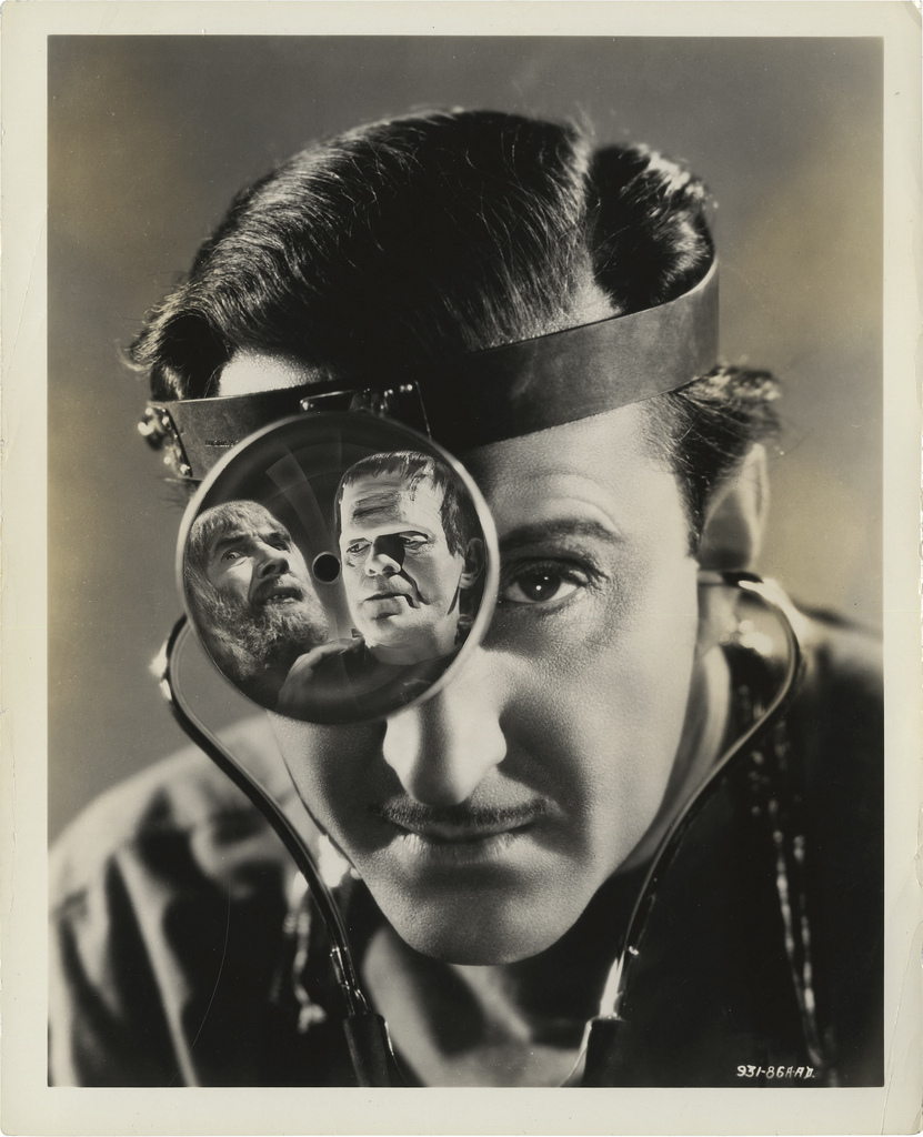 "Great publicity still of Basil Rathbone for ""Son of Frankenstein"" 1939."