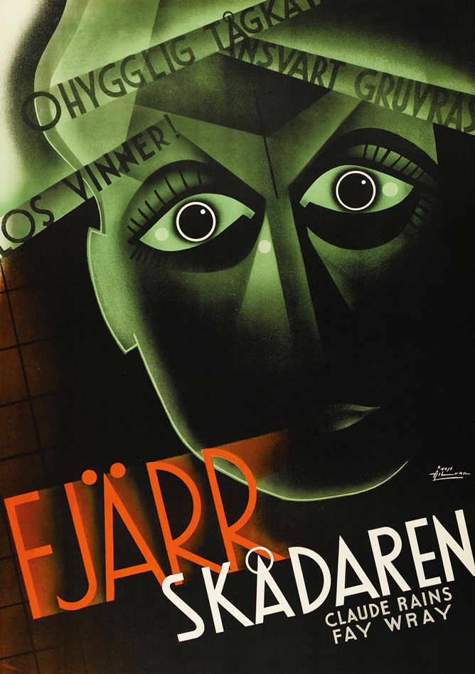 Swedish poster for The Clairvoyant, 1935, starring Claude Rains and Fay Wray.
