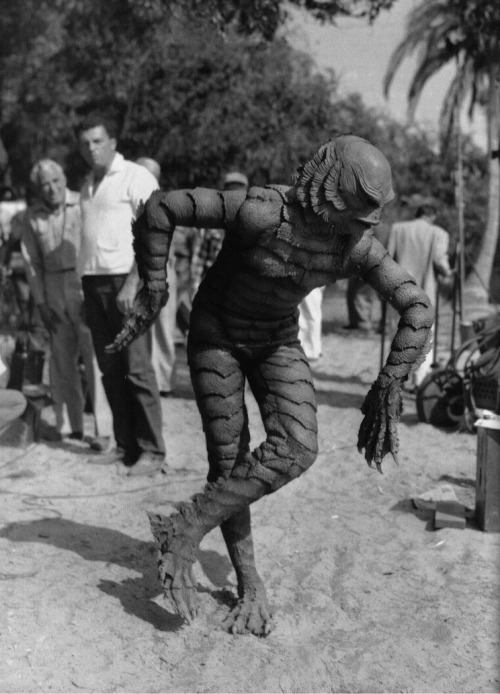 "Ben Chapman relaxes between takes on the set of Creature from the Black Lagoon, 1954. ""The reason they didn't credit me in the movie, and this is crazy, is the studio wanted to give the impression, the illusion, that it was a real creature. If you see the original Frankenstein, Boris [Karloff] doesn't get credit. It's a question mark in the credit. I looked at the studio and asked if they thought the people were that stupid, and they said, 'You'd be surprised what people believe'"""