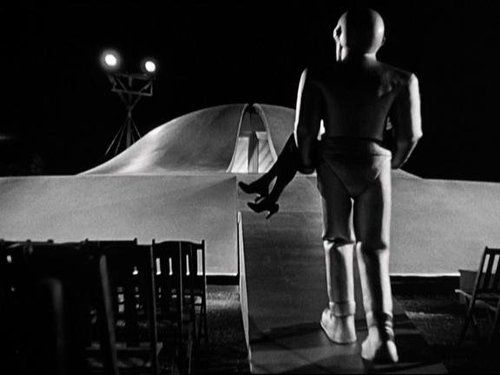 """[Herrmann's score for the sci-fi classic The Day The Earth Stood Still] was another scoring milestone that anticipated the era of electronic music with its then unheard of instrumentation for electric violin, electric bass, two high and low electric theremins, four pianos, four harps and a 'very strange section of about 30-odd brass.'…What the film needed was an extraterrestrial strangeness, a sense of the bizarre and unsettling; this Herrmann achieved through his wisely sparse electronic soundtrack. If the music's impact is lessened today, the reason is not the score itself but the host of inferior imitations its success spawned."" -excerpted from A Heart at Fire's Center: The Life and Music of Bernard Herrmann by Steven Smith"