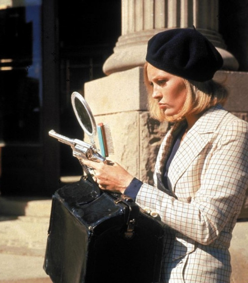"Faye Dunaway on the set of Bonnie & Clyde (1967, dir. Arthur Penn)  ""Never have I felt so close to a character as I felt to Bonnie. She was a yearning, edgy, ambitious southern girl who wanted to get out of wherever she was. I knew everything about wanting to get out, and getting out doesn't come easy. But with Bonnie there was real tragic irony. She got out only to see that she was heading nowhere and the end was death. There was a real kind of fierceness I'd seen in Bonnie that I recognized in myself as well. You look at photos of her and see it in her eyes, the set of her jaw. It takes fierceness in life to get ahead. I already knew that. Bonnie was Tennessee Williams, Cat on a Hot Tin Roof time. She knew the only way to get what she wanted was through her own sheer force of will. She was driven by her own desire. I know that territory - you do whatever it takes. She wanted to be something special, something out of the ordinary."""
