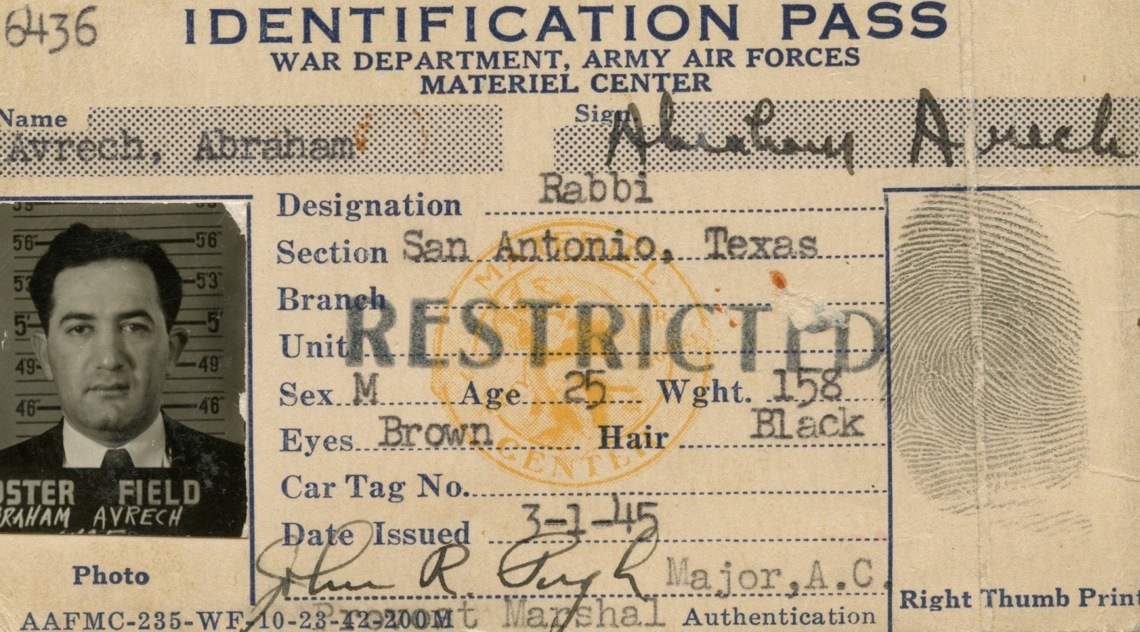 I'm still going through my late father's papers. Recently discovered this ID card.