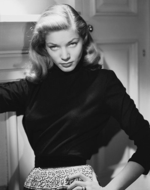"How Lauren Bacall perfected ""The Look"" ""I used to tremble from nerves so badly that the only way I could hold my head steady was to lower my chin practically to my chest and look up at Bogie. That was the beginning of The Look. It became my trademark."""