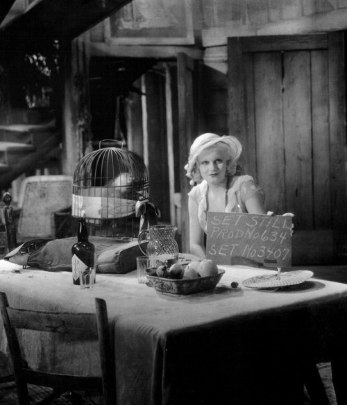 Jean Harlow on the set of Red Dust, 1932, directed by Victor Fleming
