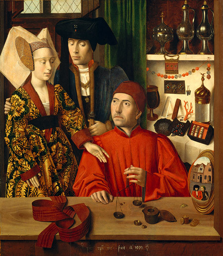 A Goldsmith in His Shop, by Petrus Christus, 1449.  Note the mirrored reflection on the right side.