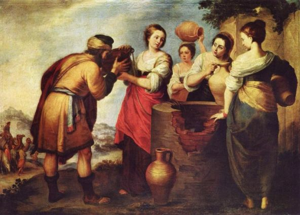 Bartolome Esteban Perez Murillo Rebecca and Eliezer late17th century. Take note of the cracked wall which again suggests a ruined civilization. There's also the rounded water jugs which play off the rounded forms of Rebecca. Water and fertility are visually joined.
