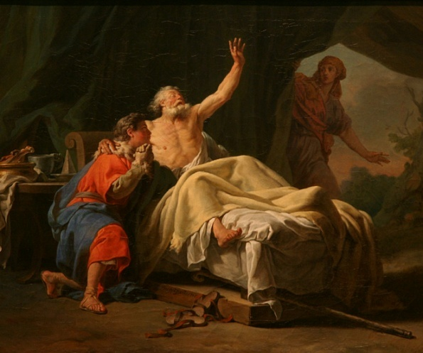 Nicolas-Guy Brenet Rebecca Presents Jacob to Isaac, 1768. Jacob's posture is one of vulnerability and anguish. He seems at the mercy of those around him. Rebecca watches form behind a curtain as her plan unfolds.