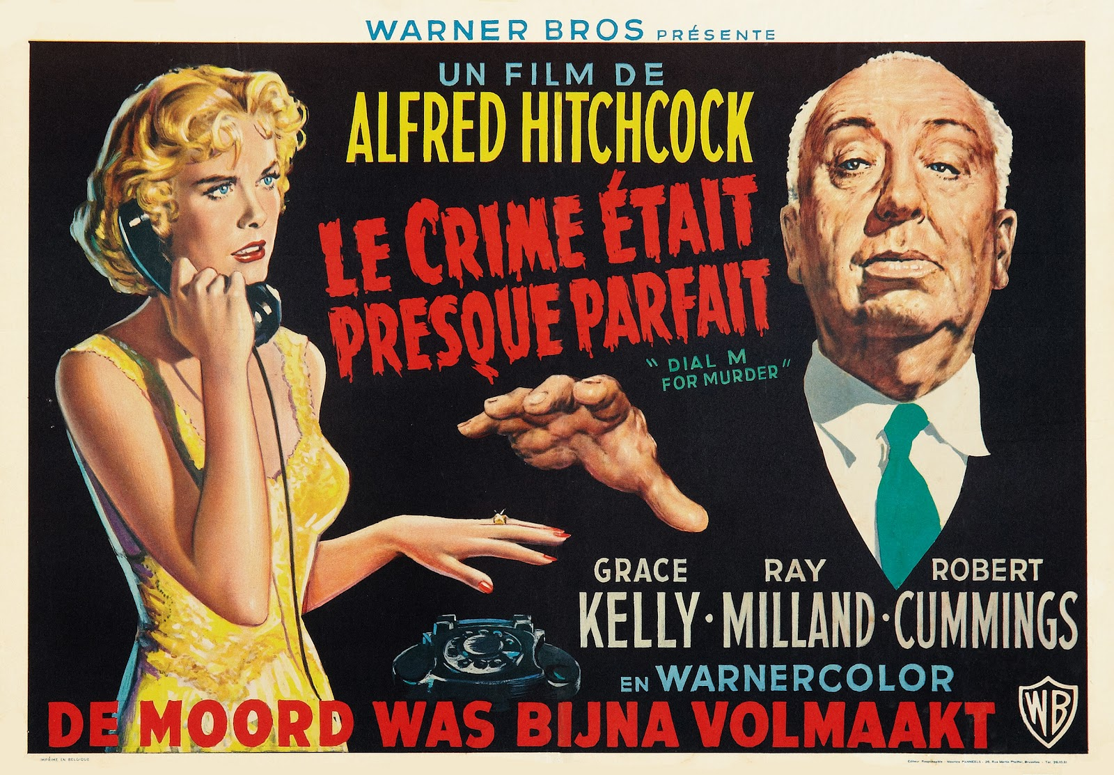 Poster for Dial M for Murder from Belgium, 1954.