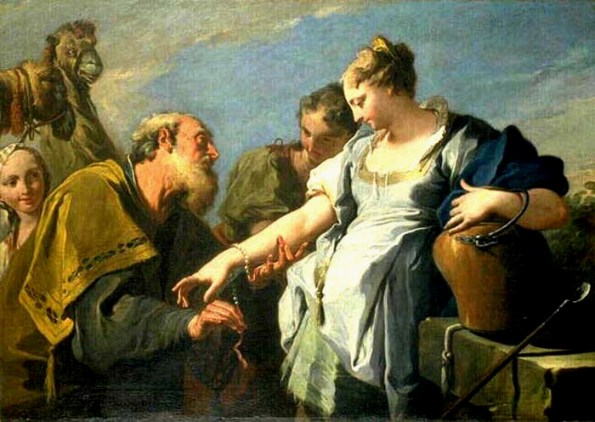 Giambattista Pittoni Eliezer and Rebecca 18th century. This is fascinating. Eliezer gives Rebecca a valuable jewels. She looks at the gift, yet she seems hesitant. Should she give up her home and family for these luminous gifts in exchange for an uncertain future?