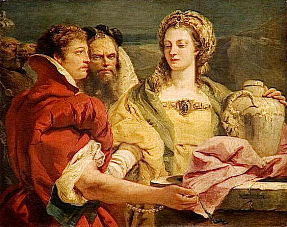 Giandomenica Tiepolo, Rebecca at the Well late 18th century. Look at Rebecca's eyes. She appears sad, as if she sees into the future glimpsing a difficult life.