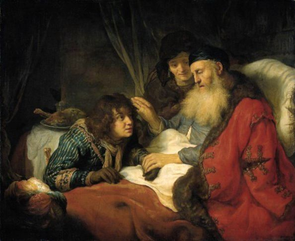 Govert Flinck, Isaac Blessing Jacob, 1638. Jacob's eyes are closed. he cannot see that he is being tricked b Rebecca and Jacob. Notice Jacob's coat, falling form his shoulders and carelessly patched, a sign of his weakened position. Flinck was a pupil of Rembrandt's, and the influence of the older artist is clear in this fine work.