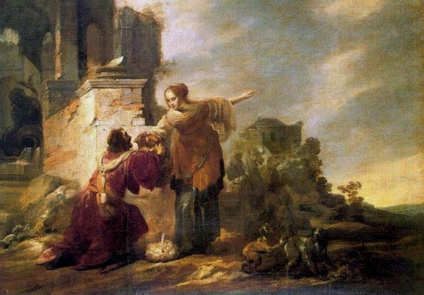 Jacob Hogers, Abraham's Servant and Rebecca,1614 Oil on canvas 37 x 38. I love the landscape, a ruined cit. Rebecca points towards the future, and Eliezer strains forward convincing Rebecca to accept Isaac's hand in marriage.
